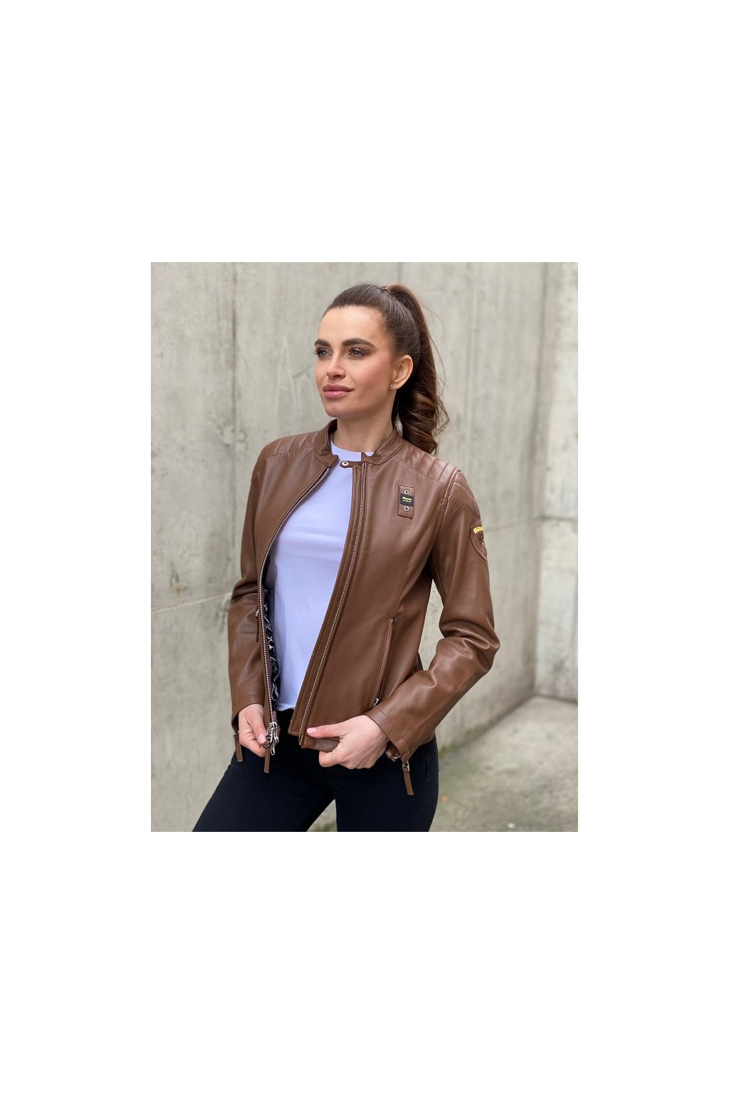 Dámská kožená bunda Blauer 21SBLDL02288 hnědá