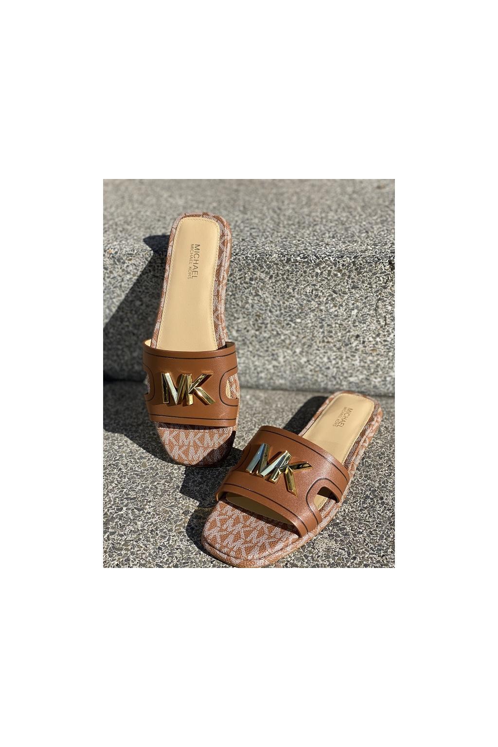 Dámské sandály Michael Kors Kippy Leather Slide hnědé