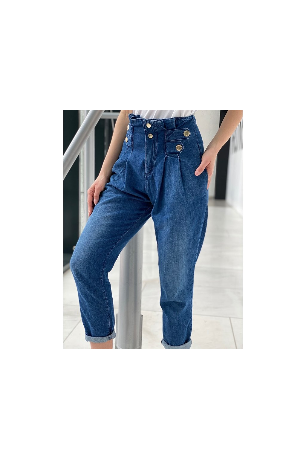 Dámské džíny Pinko New Cara Fashion Carrot PJ456 modré