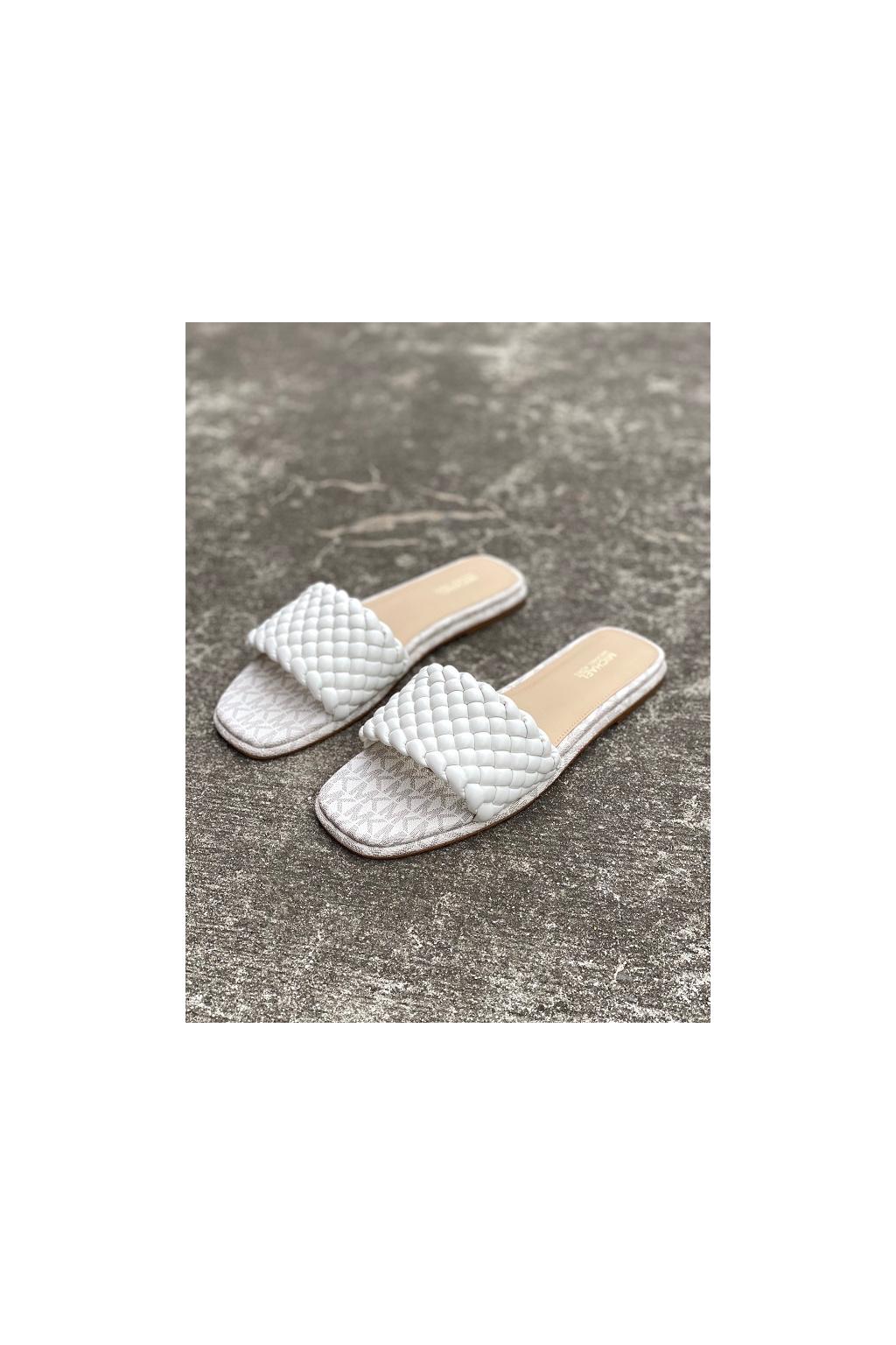 Dámské sandály Michael Kors Amelia Logo Nappa Faux Leather bílé