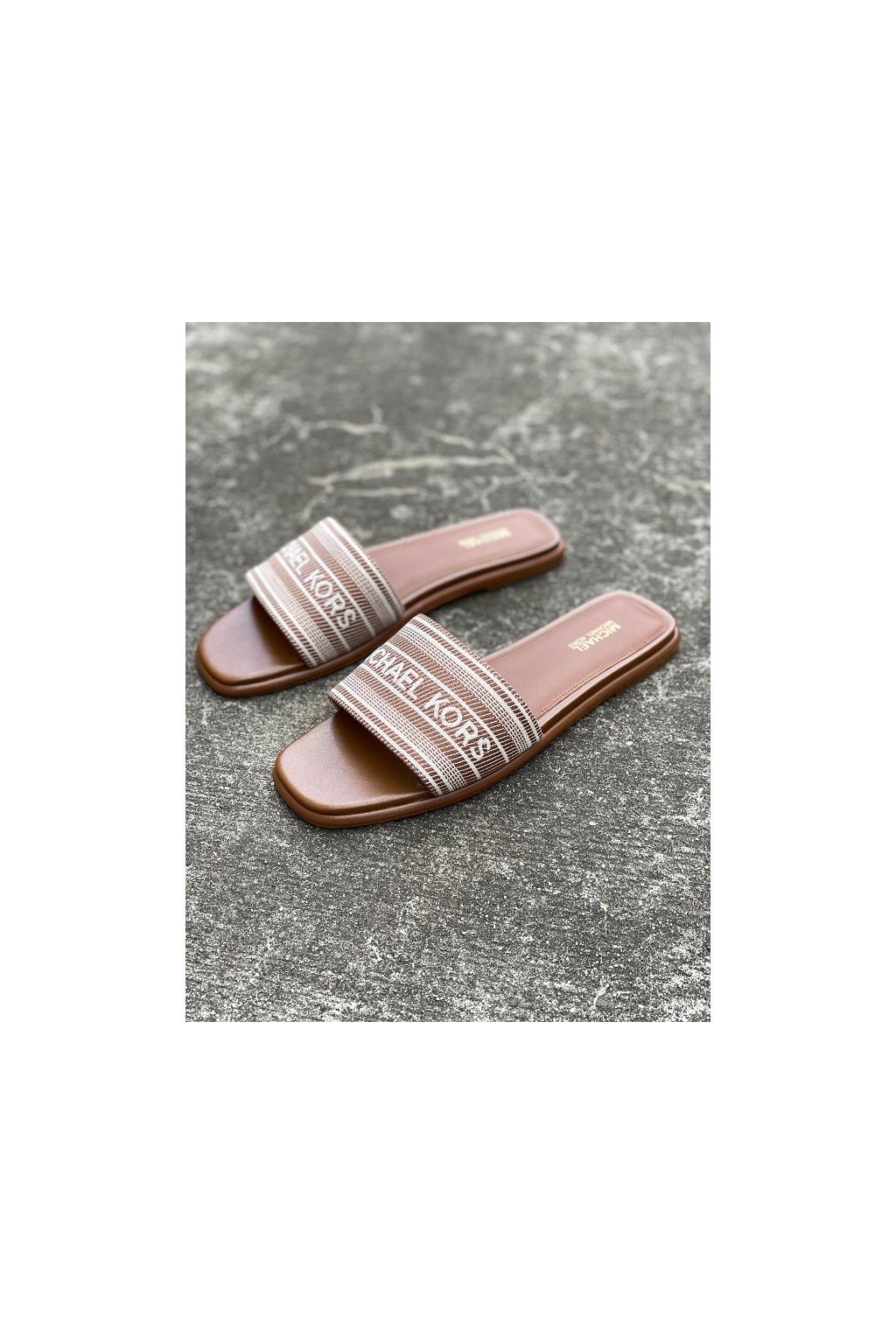 Dámské sandály Michael Kors Sadler Slide MK Stripe Jacquard hnědé