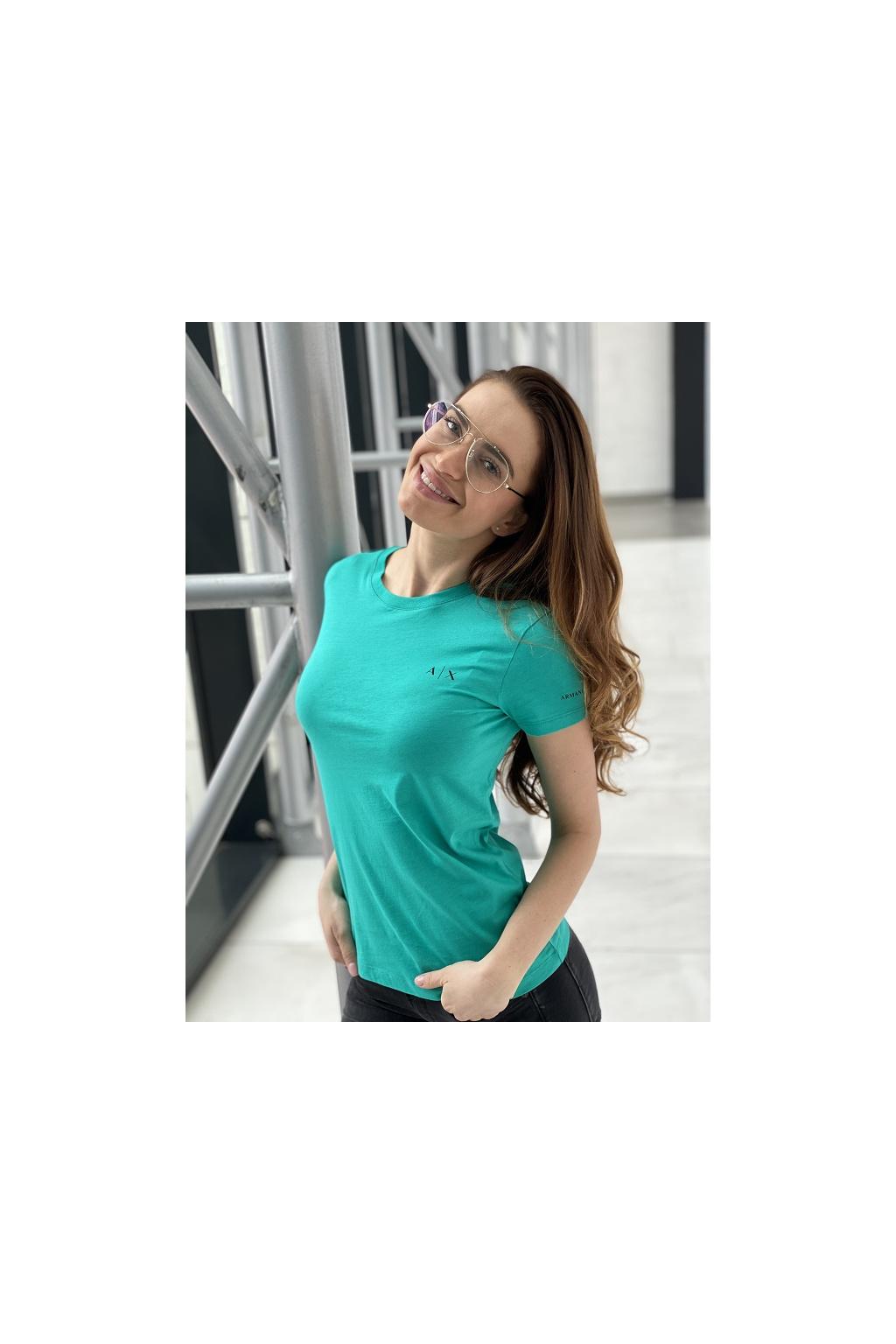 Dámské tričko Armani Exchange 3KYTHN YJ3RZ zelené