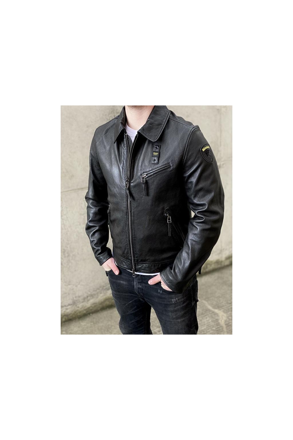 Pánská kožená bunda Blauer 21SBLUL02277 černá