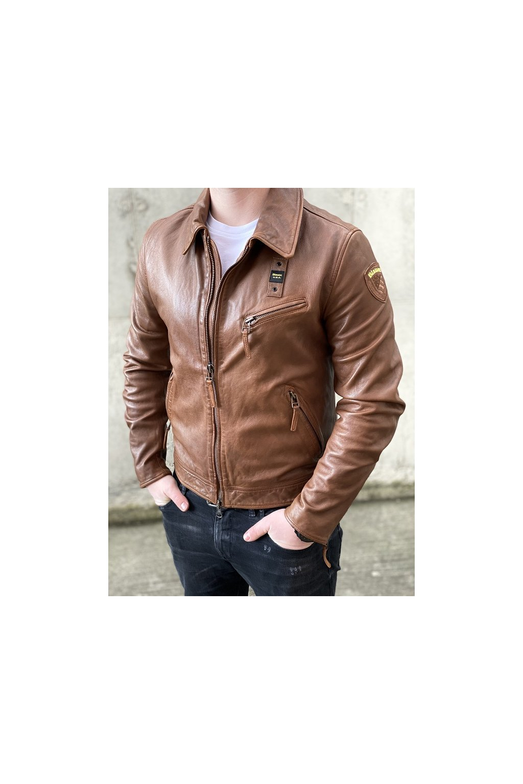 Pánská kožená bunda Blauer 21SBLUL02277 hnědá
