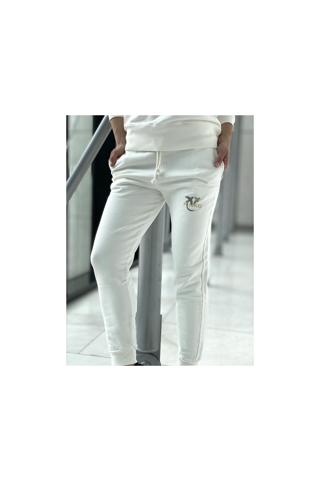 Dámské kalhoty Pinko Carico bílo zlaté