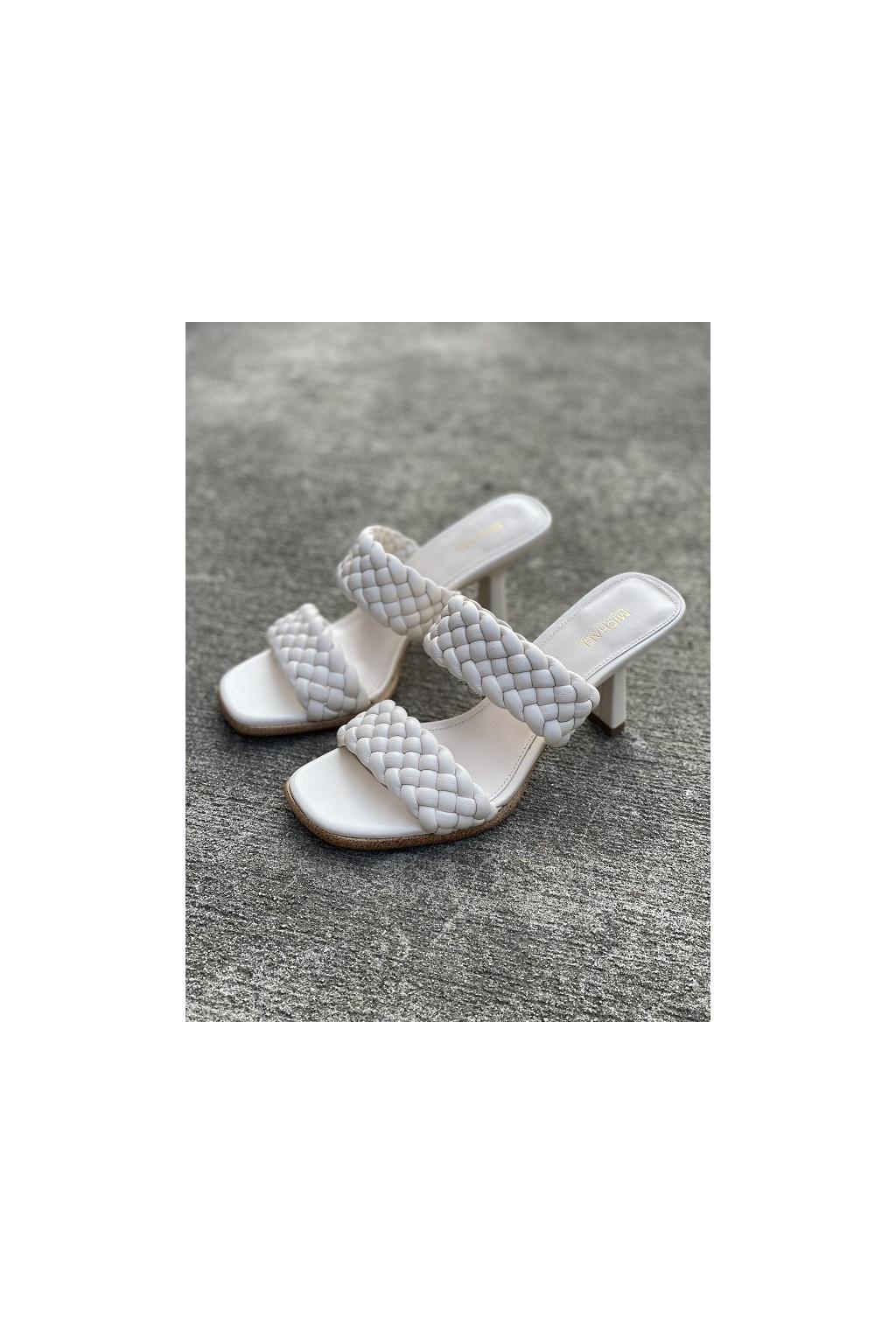 Dámské sandály Michael Kors Amelia Mule Nappa Faux Leather krémové