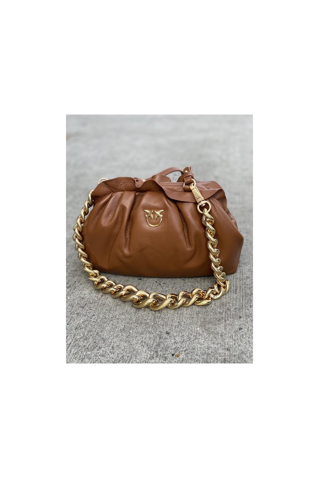 Dámská kabelka Pinko Mini Chain Clutch Fraimed Chain C hnědá