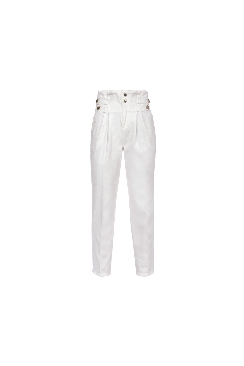 Dámské džíny Pinko New Cara 1 Fashion Carrot PJ456A bílé