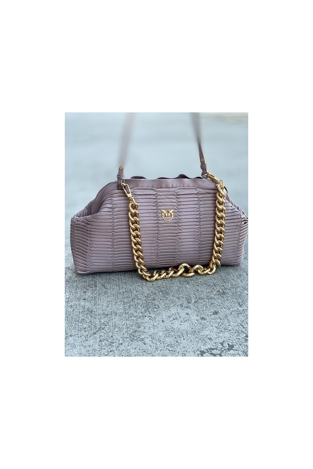 Dámská kabelka Pinko Maxi Chain Clutch Origami C fialová