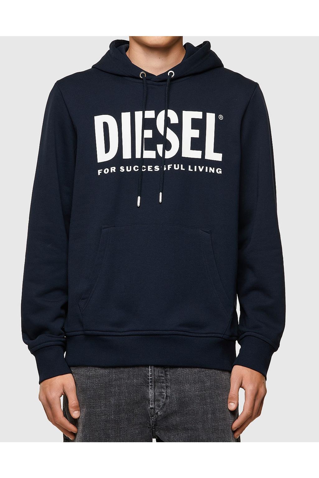 Pánská mikina Diesel S Girk Hood Ecologo modrá
