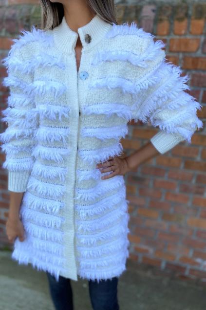 Dámský vlněný kabát s třásněmi Twinset 212TT3060 bílý