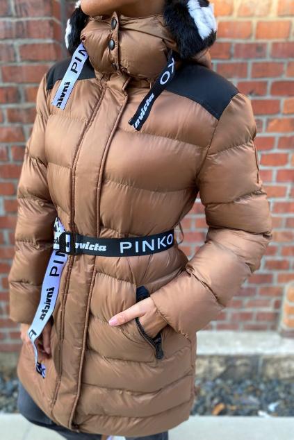 Dámská zimní bunda Pinko 1G16XJY834L67 hnědá