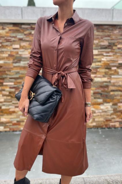 koženkové šaty Pinko 1G168RY7CDL81 hnědé