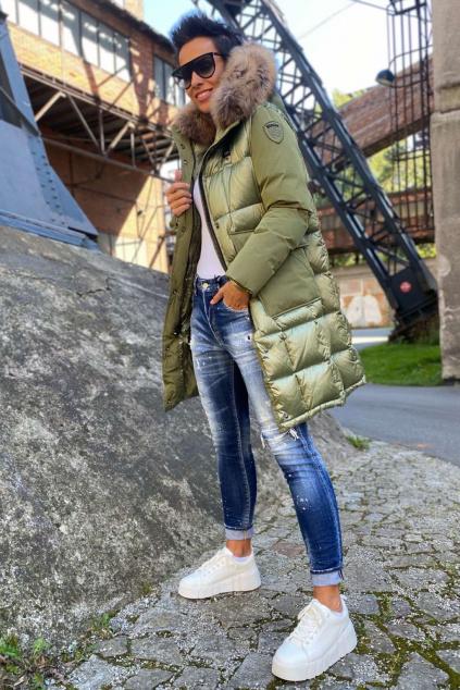 Dámská dlouhá péřová bunda Blauer 21WBLDK03095 zelená