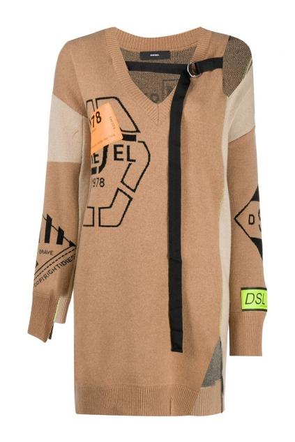 A01249 0LAZG 72C Dámský svetr Diesel  M anne hnědý
