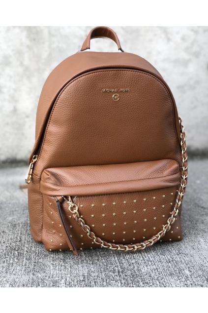 Dámský batoh Michael Kors Slater 30F0G04B2I Medium Backpack Leather hnědý