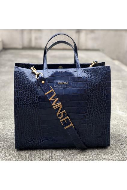 999TB7090 05301 Dámská kožená kabelka Twinset modrá