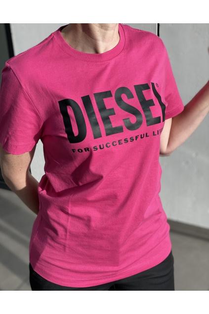00SXED 0AAXJ3BG Dámské tričko Diesel T Diego Logo růžové