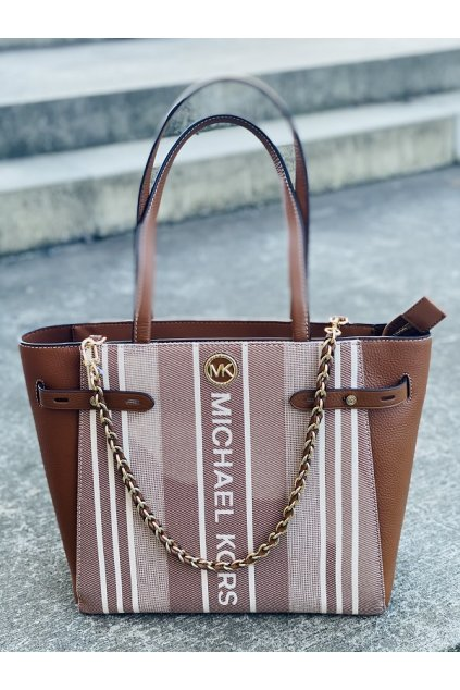 Dámská kabelka Michael Kors Carmen Large Striped Jacquard and Leather Tote Bag hnědá