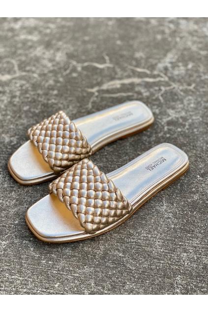 Dámské sandály Michael Kors Amelia Metallic Faux Leather zlaté
