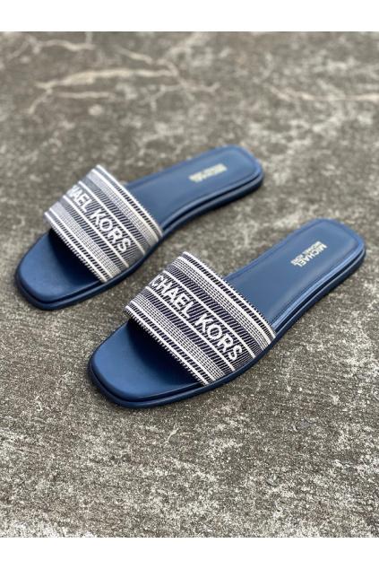 Dámské sandály Michael Kors Sadler Slide MK Stripe Jacquard modré