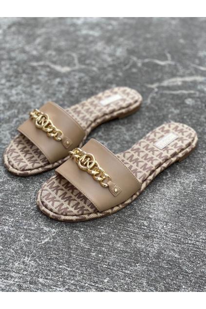 Dámské sandály Michael Kors Rina Slide Leather hnědé
