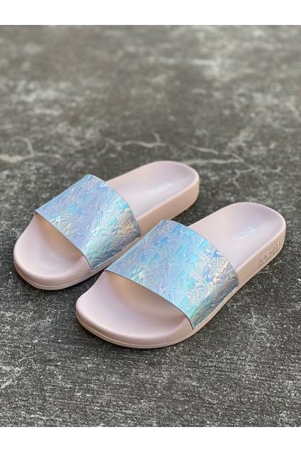 Dámské sandály Michael Kors Gilmore Slide Metallic Faux stříbrné