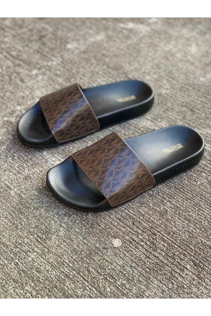 Dámské sandály Michael Kors Gilmore Slide Logo hnědé