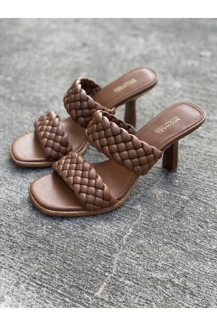 Dámské sandály Michael Kors Amelia Mule Nappa Faux Leather hnědé