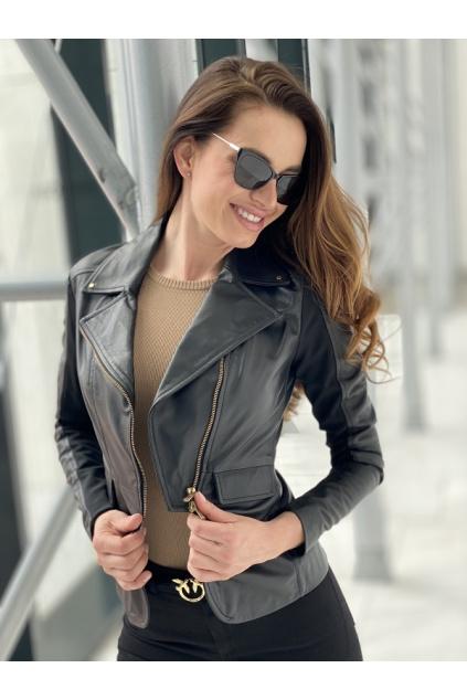 Dámská kožená bunda Pinko Franco černá 0