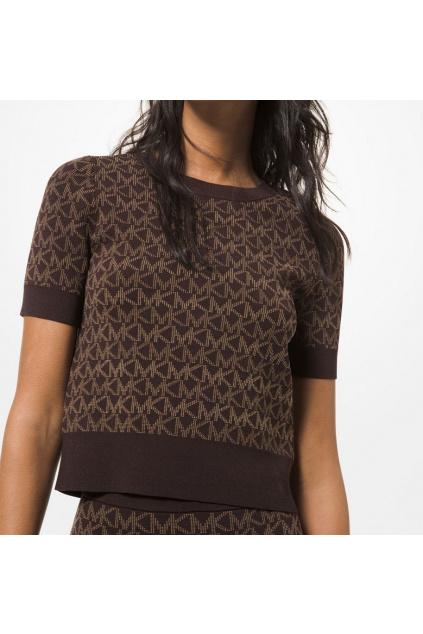Dámský svetr Michael Kors Stretch Logo Jacquard Short Sleeve MS1604L2RW hnědý