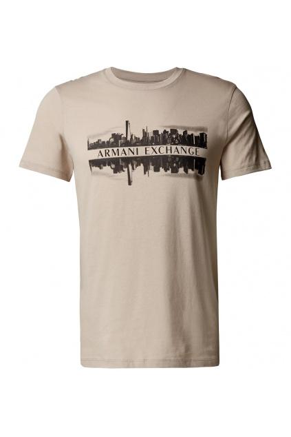 Pánské tričko Armani Exchange 6KZTAE ZJ5LZ béžové