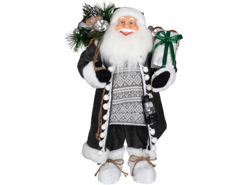 Vánoční dekorace Santa v dlouhém šedém kabátku