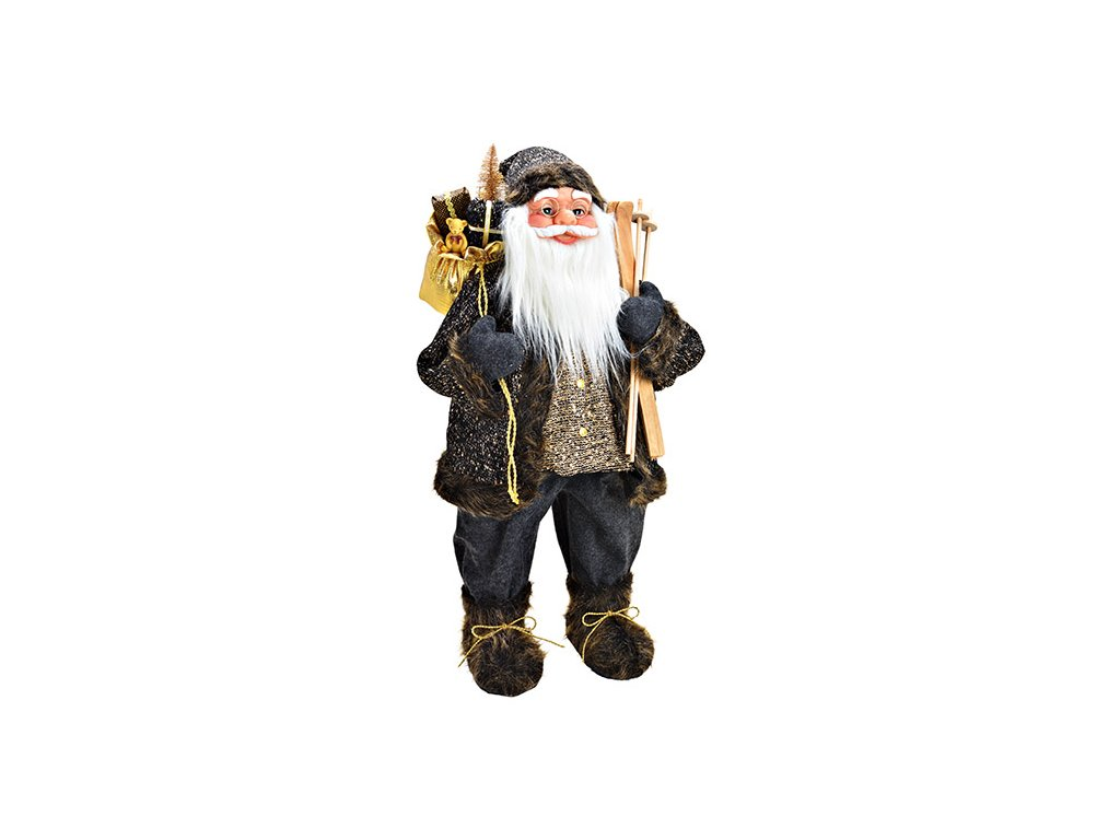 Vánoční dekorace Santa v černém kabátku