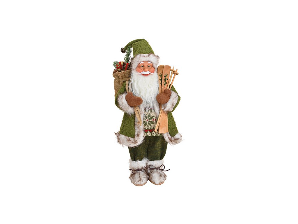 Vánoční dekorace Santa v zeleném kabátku