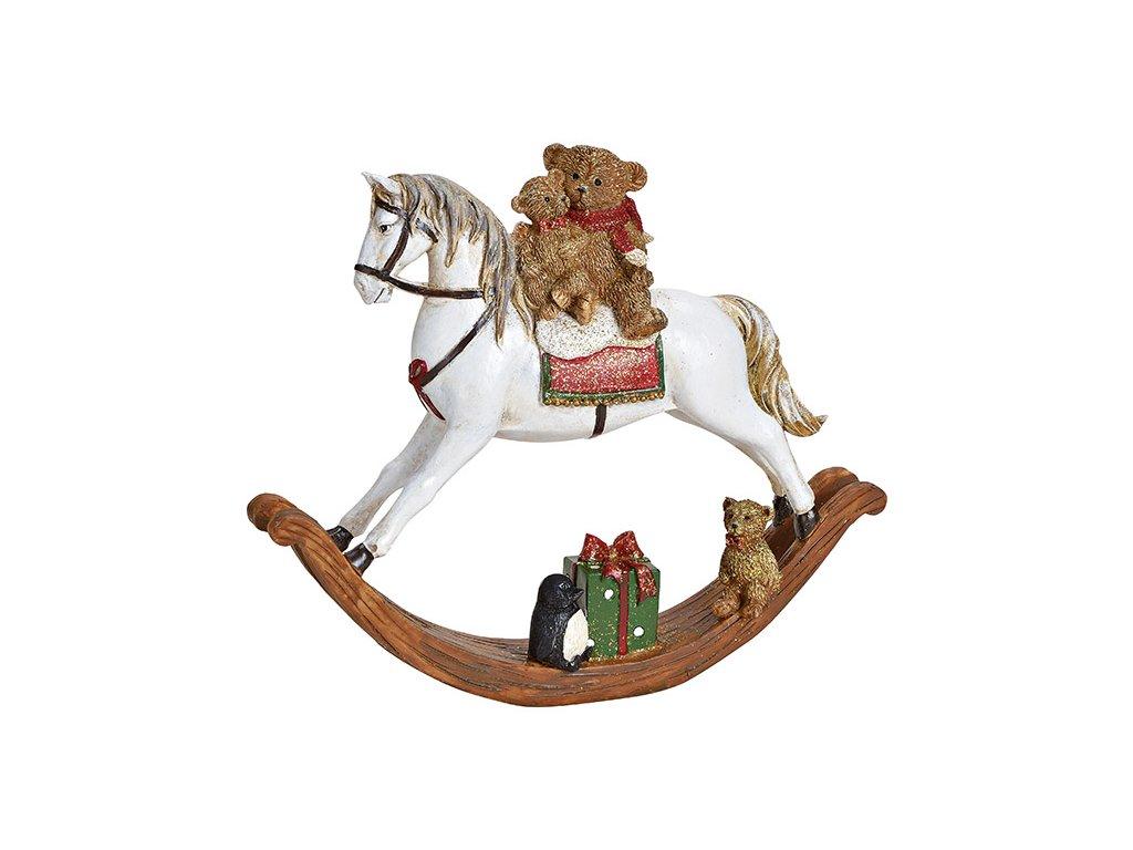 Vánoční dekorace Houpací kůň s medvídky 17 cm