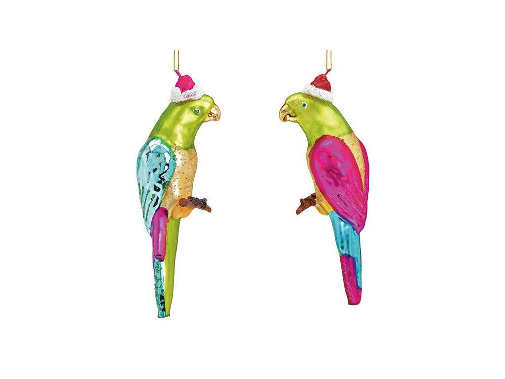 Skleněná ozdoba na stromeček Papoušek 18 cm