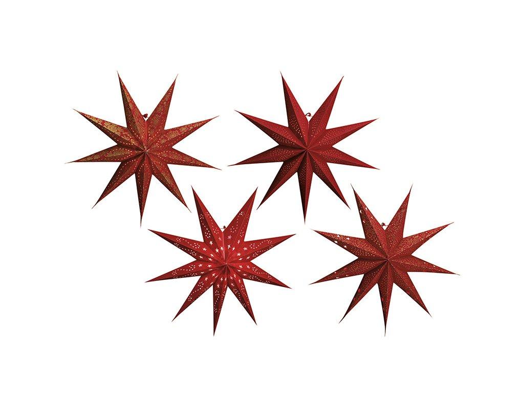 Červená Vánoční Hvězda svítící dekorace 9-bodová 60 cm