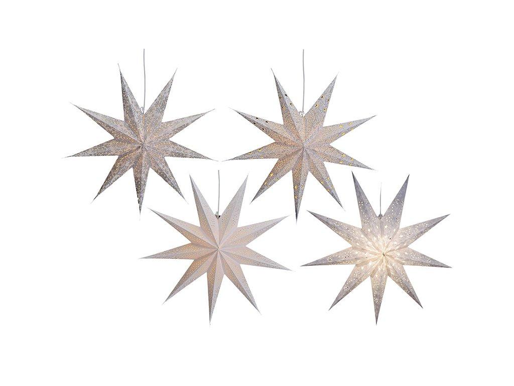 Bílá Vánoční Hvězda svítící dekorace 9-bodová 60 cm