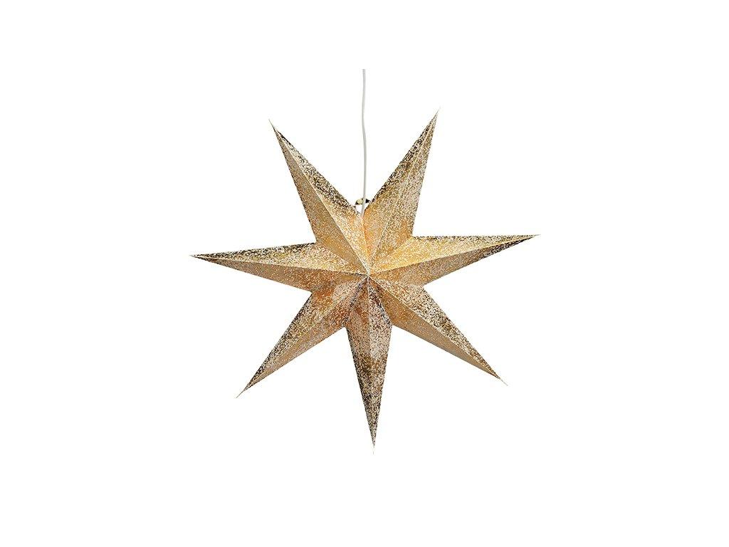 Zlatá Vánoční Hvězda svítící dekorace 7-bodová 60 cm