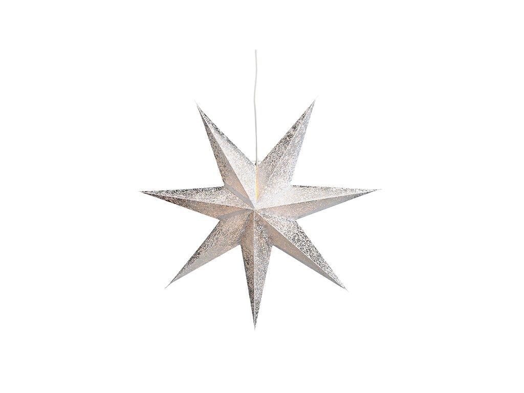 Stříbrná Vánoční Hvězda svítící dekorace 7-bodová 60 cm