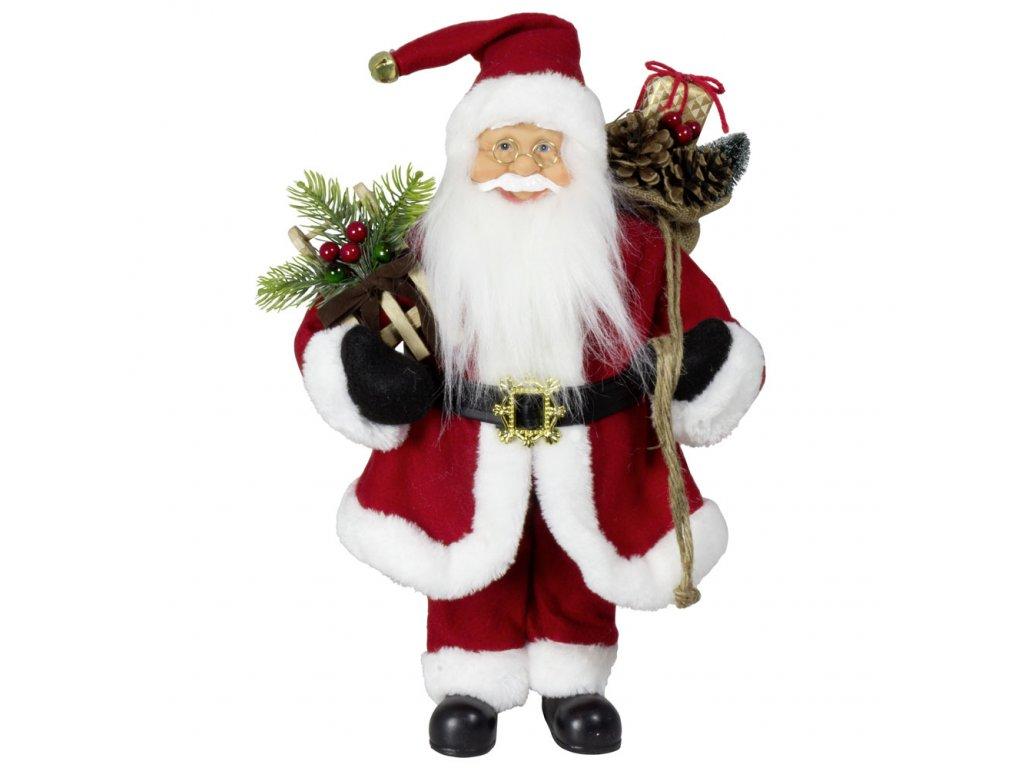 Vánoční dekorace Ježíšek Santa v červeném kabátku 30 cm