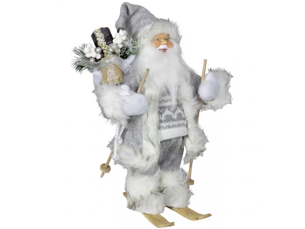 Vánoční dekorace Ježíšek Santa v šedém kabátku na lyžích 30 cm