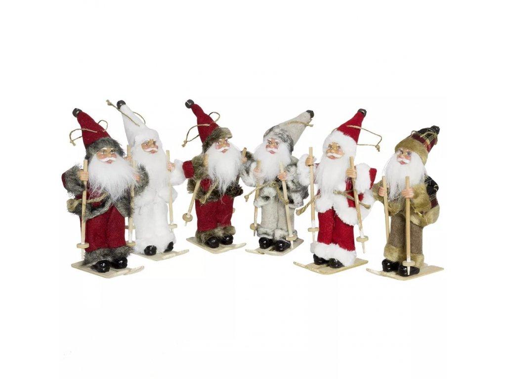 Ozdoba Santa k zavěšení na lyžích 18 cm