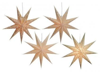 Béžová Vánoční Hvězda svítící dekorace 9-bodová 60 cm