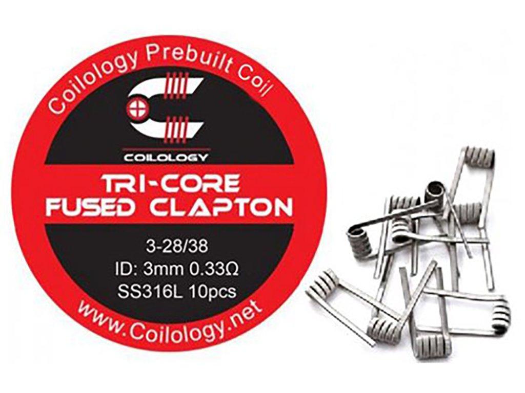 10136 1 predmotane spiralky coilology tri core fused clapton ss316l 0 33ohm 10ks