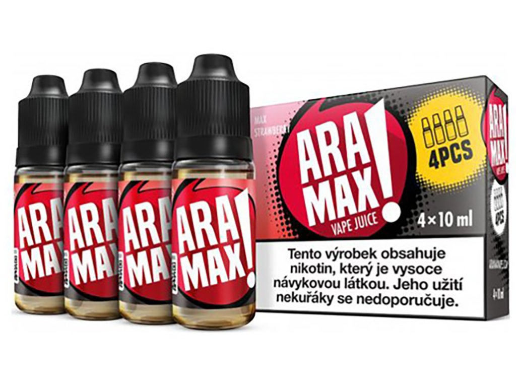 7868 1 e liquid aramax max strawberry 4x10ml 3mg nikotinu ml