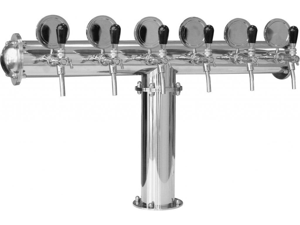 Výčepní stojan T6 nerez komplet s pákovými kohouty a medailony
