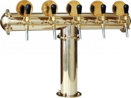 Výčepní stojan T5 zlatý komplet s pákovými kohouty a medailony
