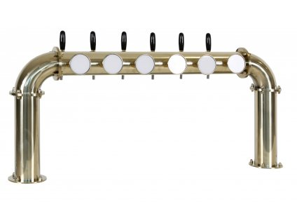 Výčepní stojan U6 zlatý komplet s pákovými kohouty a LED medailony